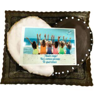 Palmerón mitad chocolate negro y la otra mitad glaseado con foto personalizada comestible